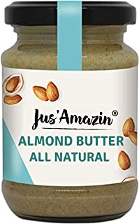 Jus' Amazin Almond Butter - All Natural, Unsweetened, High Protein, Vegan, Cholesterol Free, Dairy Free, Soy Free, Gluten Free, Plant-Based Protein, 125 GMS