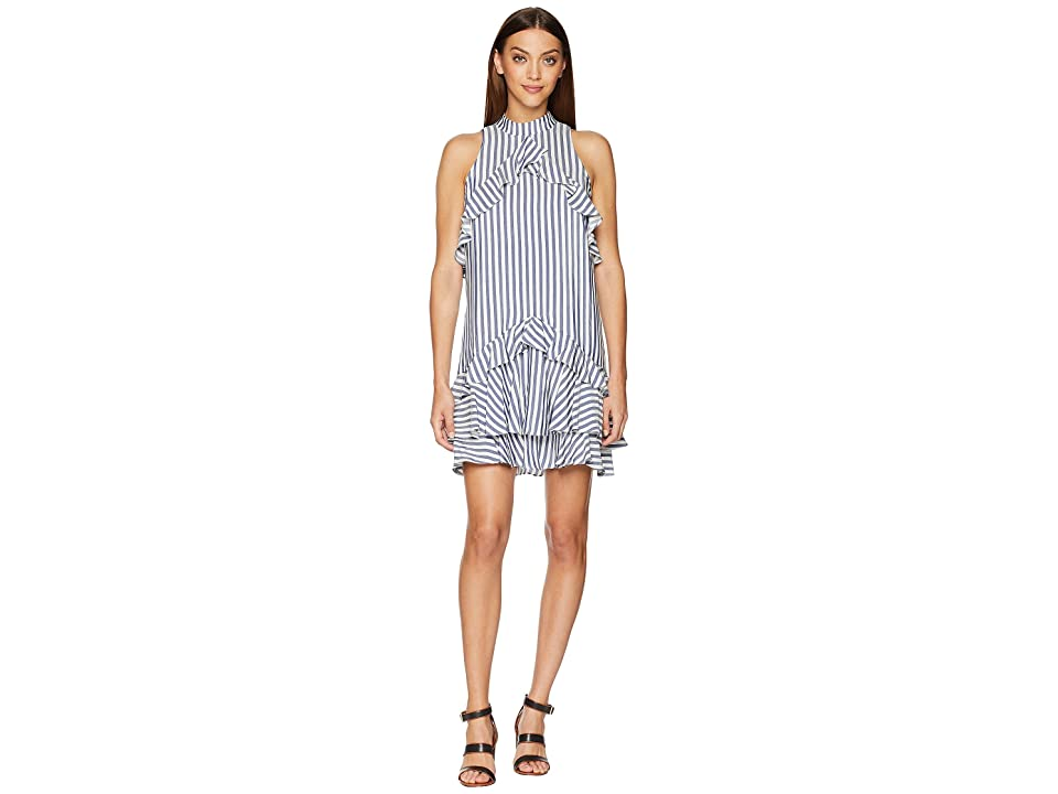 Nicole Miller Ruffle Dress (Blue/White) Women