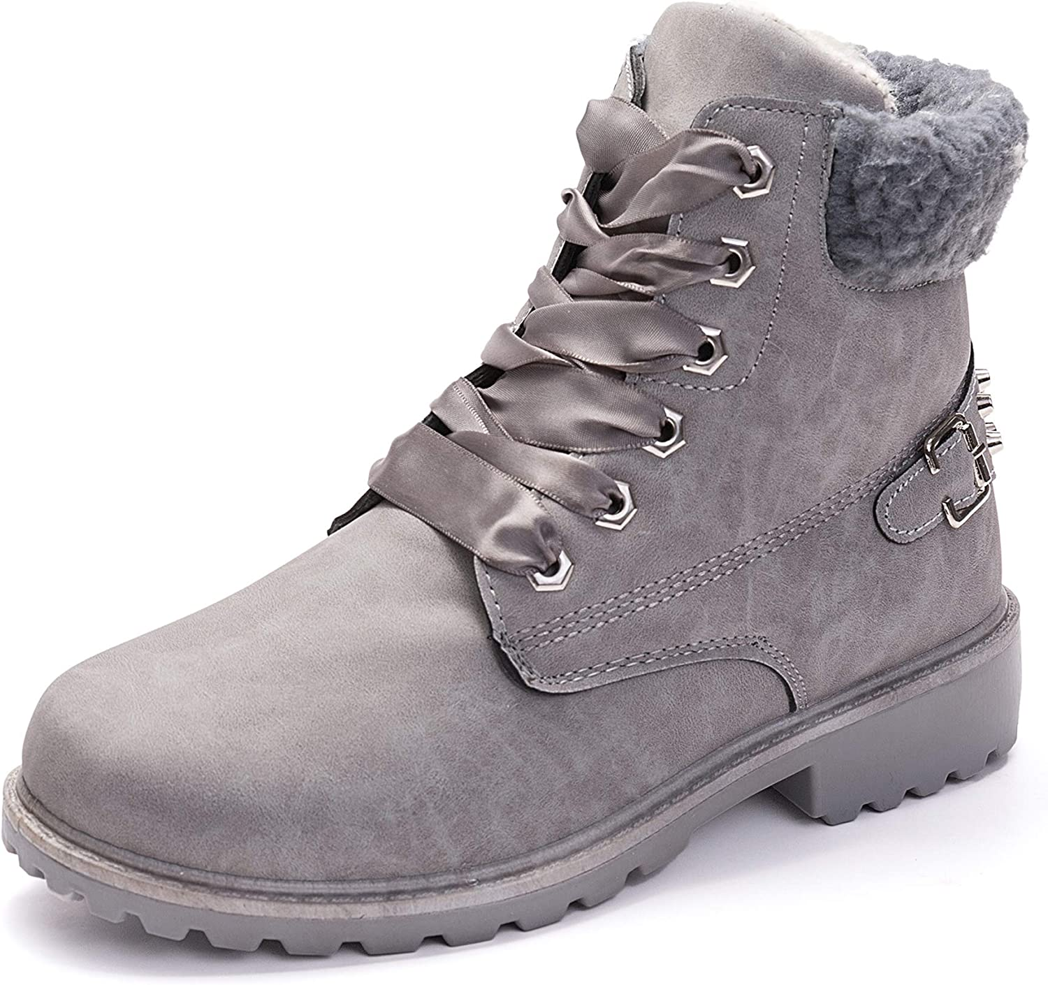 Slduv7 Winter Fur Womens Snow Boots Faux Leather Outdoor Hiking Lace Ankle Bootie Women