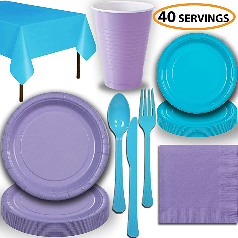 Disposable Party Supplies Serves 40 Lavender And Turquoise Large And Small Paper Plates 12 Oz Plastic Cups Heavyweight Cutlery Napkins And Tablecloths Full Two Tone Tableware Set