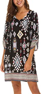 Women's Neck Tie Floral Print Summer Shift Dress