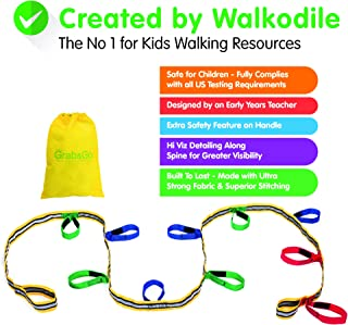 Grab & Go, Kids Walking Rope (10 Child). Teacher Designed. Extra Safety Feature on Handles. Hi Viz Detail. Includes Free Learning Games for Walks Guide