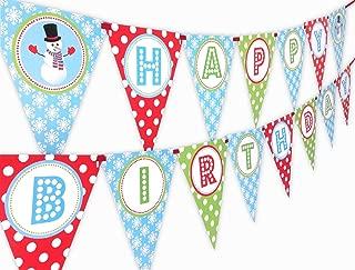 Snowman Happy Birthday Banner Pennant