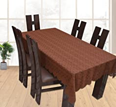 Yellow Weaves™ Designer Dining Table Cover Net Fabric 60 x 90 Inches, Color - Brown