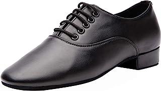 Gogodance Men's Boys Professional Lace-up Black Leather Latin Salsa Tango Ballroom Modern Dance Shoes