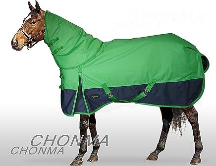 CHONMA Horseware 600D Ripstop 250G Fill Winter Waterproof Heavyweight Detach Neck Green Turnout Horse Rug
