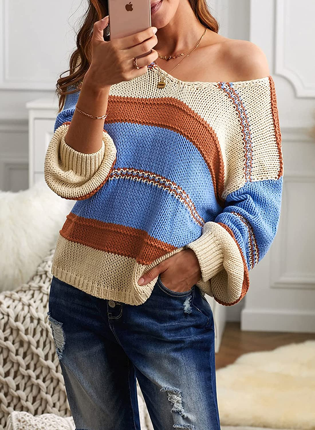 Ecrocoo Womens Sweaters Long Sleeve V Neck Striped Color Block Pullover Casual Loose Knitted Tops