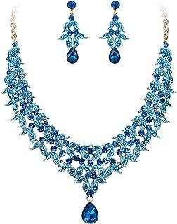 Women's Wedding Bridal Cluster Leaf Teardrop Statement Necklace Dangle Earrings Set