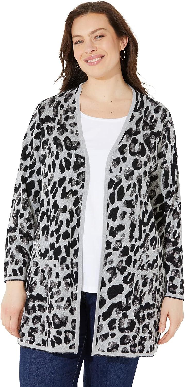Catherines Women's Plus Size Petite Luxe Leopard Sweater Cardigan