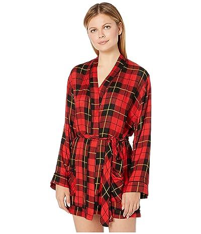 Plush Ultra Soft Plaid Pajama Robe (Red) Women