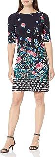 Eliza J womens Patterned Elbow Sleeve Shift Dress Dress