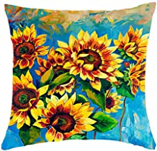 Oil Painting Sunflower Throw Pillow Case Cushion Cover Decorative Cotton Blend Linen Pillowcase for Sofa 18 X 18 . (5)