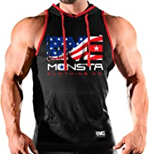Monsta Clothing Co. Mens Workout (USA:Unleash Savage Aggression) Hooded Tank Top