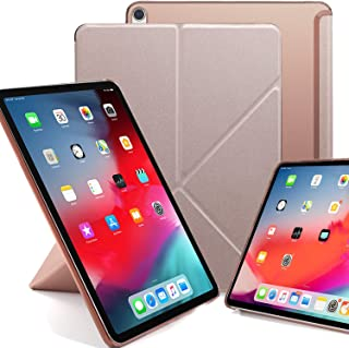 KHOMO Horizontal and Vertical Display Stand Capable Cover for iPad Pro 12.9 Inch Case 3rd Generation (Released 2018) - Dual Origami Series - See Through Back - Rose Gold