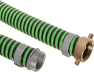 Goodyear EP Green Hornet XF Rubber Suction/Discharge Hose Assembly, 2 Aluminum Male x Brass Female Swivel Connection, 50 P...
