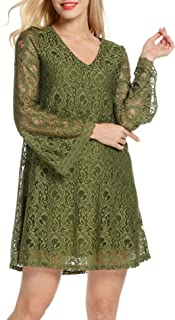 Women's V Neck Flare Sleeve Crochet Lace A-Line Cocktail Party Dress