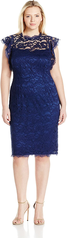 Adrianna Papell Womens Womans Ruffled Sleeve Lace Sheath Dress Dress