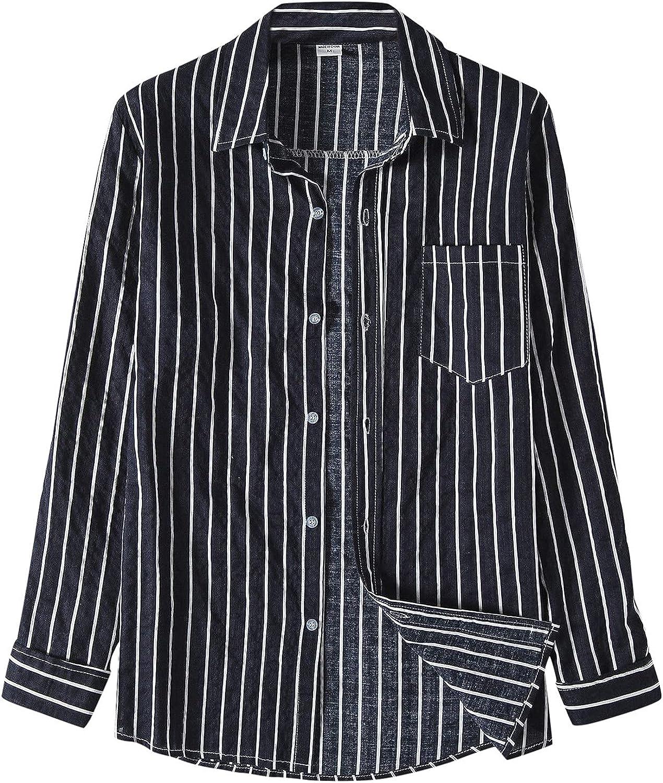 Aayomet Men's Stripe Button Down Shirts Casual Long Sleeve T-Shirt Pocket Loose Beach Yoga Sport Tee Shirts Tops