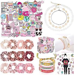 Whaline 130 PCS VSCO Girl Stuff Set Starter Pack Gift, Includes VSCO Stickers, Blush Pink Theme Velvet Hair Scrunchies, Se...