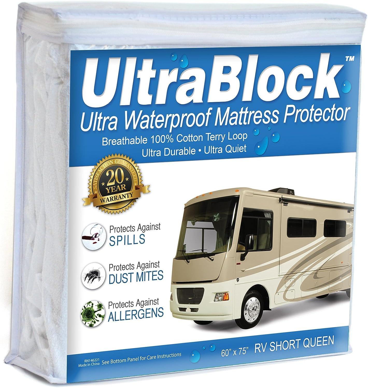 UltraBlock RV Short QueenWaterproof Mattress Predector - Premium Soft Cotton Terry Cover