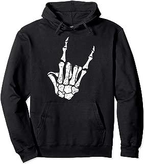 Rock On Horns Skeleton Hoodie, Rock On, Heavy Metal Hoodie Pullover Hoodie