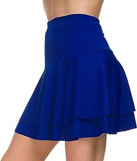Afibi Stretchy Flared Ruffle Layered Mini Skater Skirts for Women