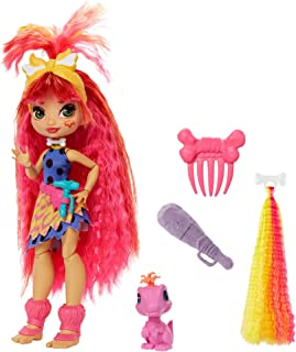 Mattel Cave Club Emberly Doll 8 – 10-inch, Pink Hair Poseable Prehistoric Fashion Doll with Dinosaur Pet and Accessories, Gift for 4 Year Olds and Up, Multi (GNM08)