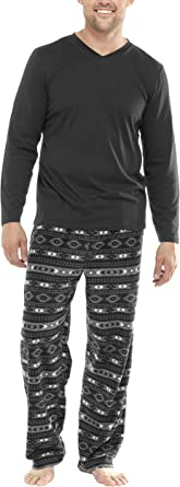 Men's Winter Pyjama's with Jersey Top and Supersoft Fleece Trousers in Fairisle Print (6XL) Grey