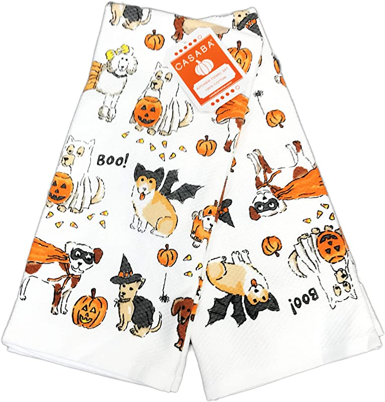 Cute Multi Dog Breeds Adorning Festive Halloween Costumes Set Of Two Decorative Kitchen Hand Towels