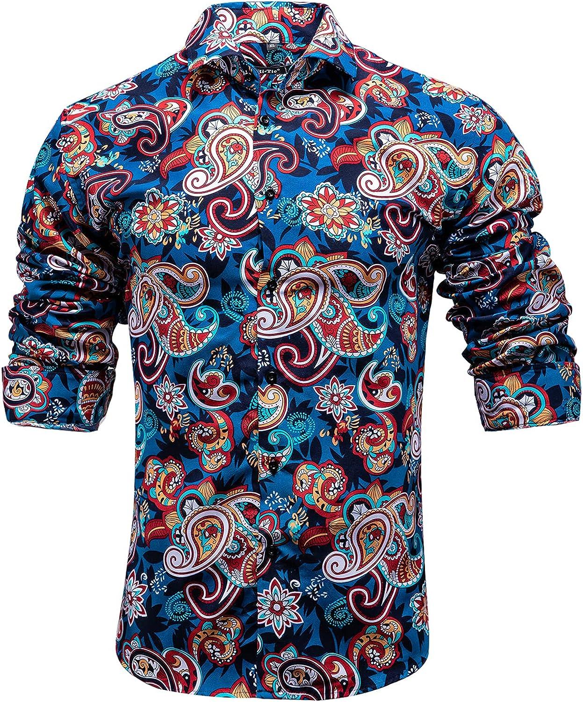 Hi-Tie Men's Dress Shirt Long Sales Spasm price results No. 1 Fit Designer Casual Sleeve Regular
