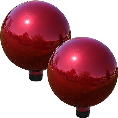Sunnydaze Gazing Globe Glass Mirror Ball, 10 Inch, Stainless Steel Red, Set of 2