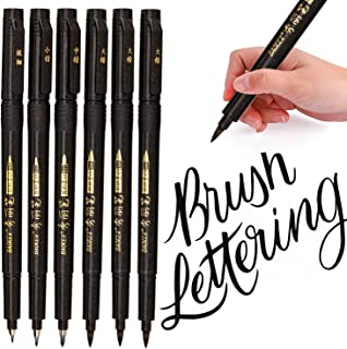 Hand Lettering Pens, Calligraphy Pens, Brush Markers Set, Soft and Hard Tip, Black Ink Refillable - 4 Size(6 Pack) for Beginners Writing, Sketches, Art Drawings, Water Color Illustrations, Journaling