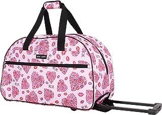 Betsey Johnson Luggage Designer Pattern Suitcase Wheeled Duffel Carry On Bag (One Size, Lips XOX)