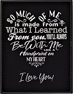 GIFT DAD MOM ~ A Loving Heart Felt Poem Plaque ~ Inspirational Words Engraved in a Heart Shape on Elegant Black Leatherette ~ Christmas Birthday Fathers Mothers Day Gift (7x9, Black&Silver)