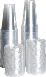 [ZEML] 100 Sets Plastic Cups With Lids, Smoothie Cups, Milkshake Cups - 20 oz.