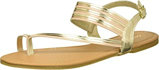 Qupid Women's Flat Sandal with Toe Ring, Gold, 6.5 M US