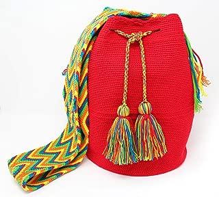 Wayuu Shoulder bag in Red Cotton Handmade Fair Trade (Mochila Wayuu from Colombia)