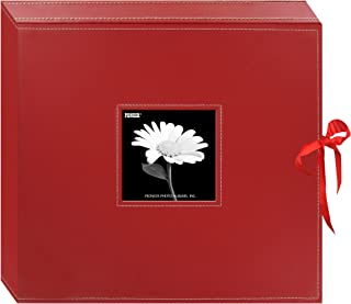 Pioneer 12 Inch by 12 Inch 3-Ring Leatherette Inset Frame and Ribbon Closure Memory Book, Red