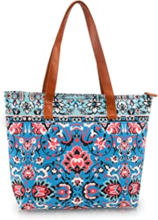 DEMOMENT Canvas Floral Shopping Zip Top Tote Bag GYM Hiking Picnic Travel Beach Pool Shoulder Book Bag