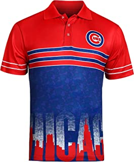 Chicago Cubs Adult Mens 3 Button Blue Dri Fit Polo Shirt