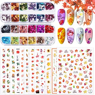 Kalolary Herfst Nagel Tattoo Stickers, 12 Vellen Thanksgiving Nail Art Sticker Herfst Esdoorn Herfst Bladeren Zelfklevend ...