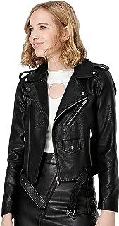 کت دوچرخهسواری زنانه و چرم مصنوعی Jhichic Faux Texture Zip-up Slim PU با جیب