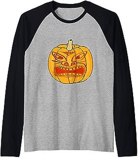 Tiki Jack-o-lantern spooky costume party wear  Raglan Baseball Tee