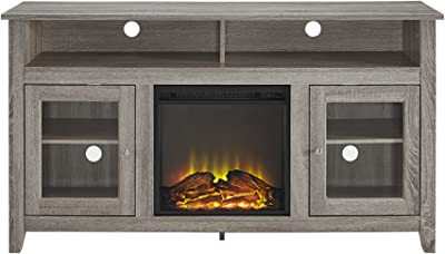 """Walker Edison Furniture Company Rustic Wood and Glass Tall Fireplace Stand for TV's up to 64"""" Flat Screen Living Room Storage Cabinet Doors and Shelves Entertainment Center, 32 Inches, Driftwood"""