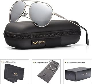 LUENX Aviator Sunglasses Polarized Men :UV 400 Protection 59MM Fashion Style, Driving