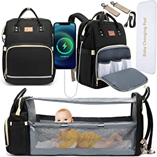 DEBUG Baby Diaper Bag Backpack with Foldable Crib, Diaper Bags Baby Bag with Changing Station for Baby Boy Girl,Waterproof Large Capacity Travel Diaper Bag with USB Charging Port for Dad Mom, Black