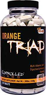 Orange Triad Daily Multivitamin for Men and Women by Controlled Labs, Iron Free Sports Supplement for Workout, Digestion, ...