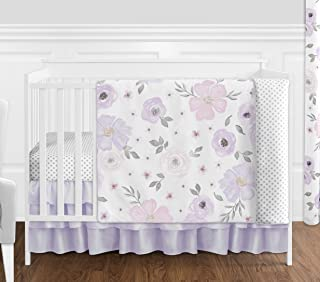 Sweet Jojo Designs Lavender Purple, Pink, Grey and White Shabby Chic Watercolor Floral Baby Girl Nursery Crib Bedding Set without Bumper - 4 pieces - Rose Flower Polka Dot