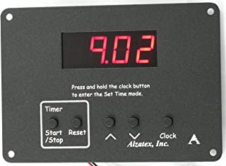 Alzatex Lectern Timer, Presentation Timer, Industrial Event Timer, 0 to 99 Minute Count Down Timer with 4-Digit LED Display, Flush Mount with Built in time of Day Clock. Black Powder Coated AL.