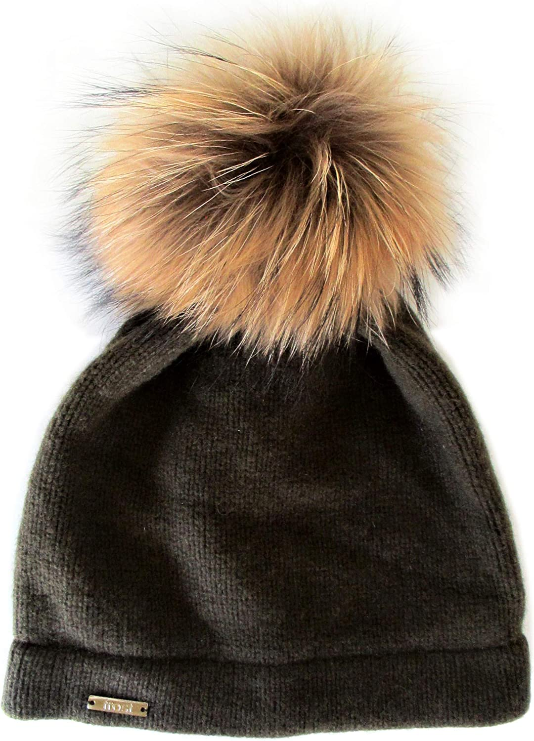 Frost Hats Cashmere Classic Hat with Detachable Genuine Fox Fur Pom CSH059RN